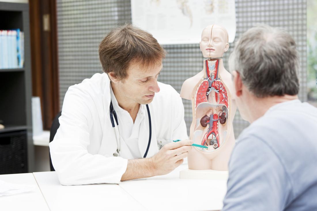 男性患者に膀胱の問題を説明する医師