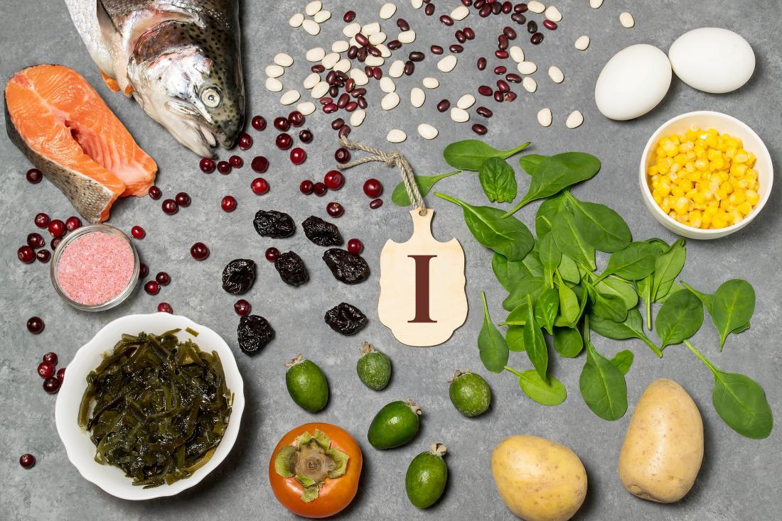 不足を防ぐためにヨウ素の食品源。