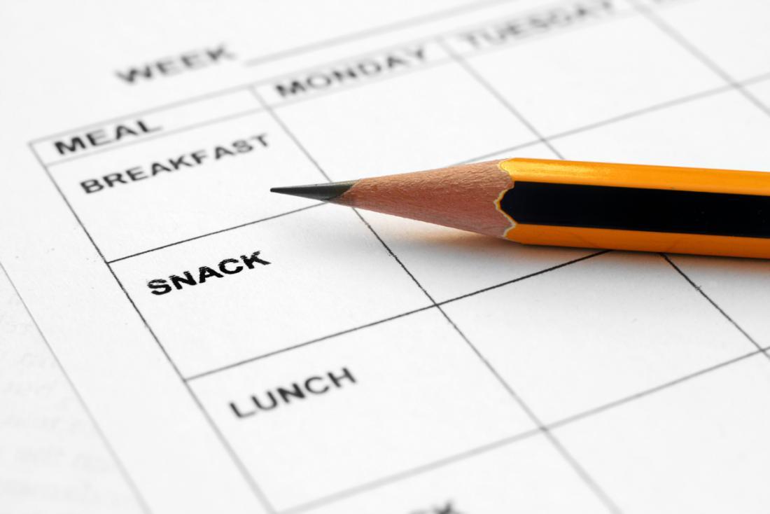 plan de repas et un crayon pour un régime faible en glucides