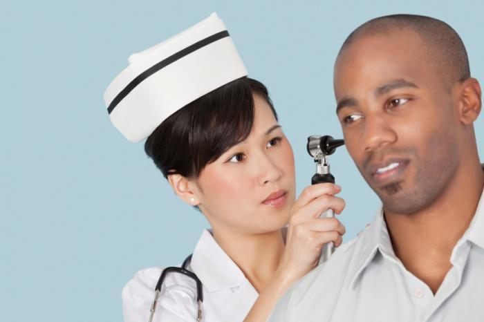 doutor, examinando, paciente, orelha
