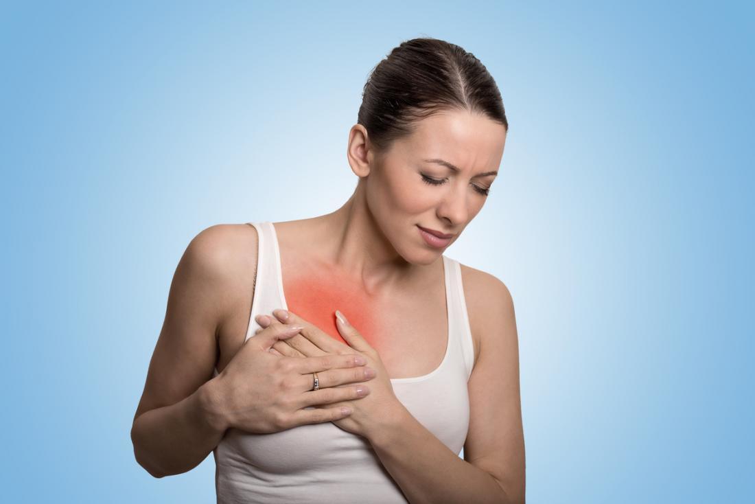 đau ở ngực của người phụ nữ