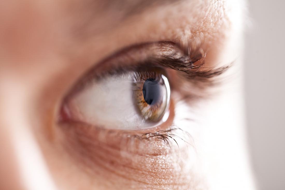 Nahaufnahme Bild des Auges. möglicherweise Sterne in der Vision sehen