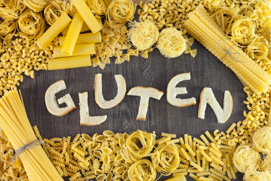 beaucoup de types de pâtes avec du gluten énoncées dans le pain