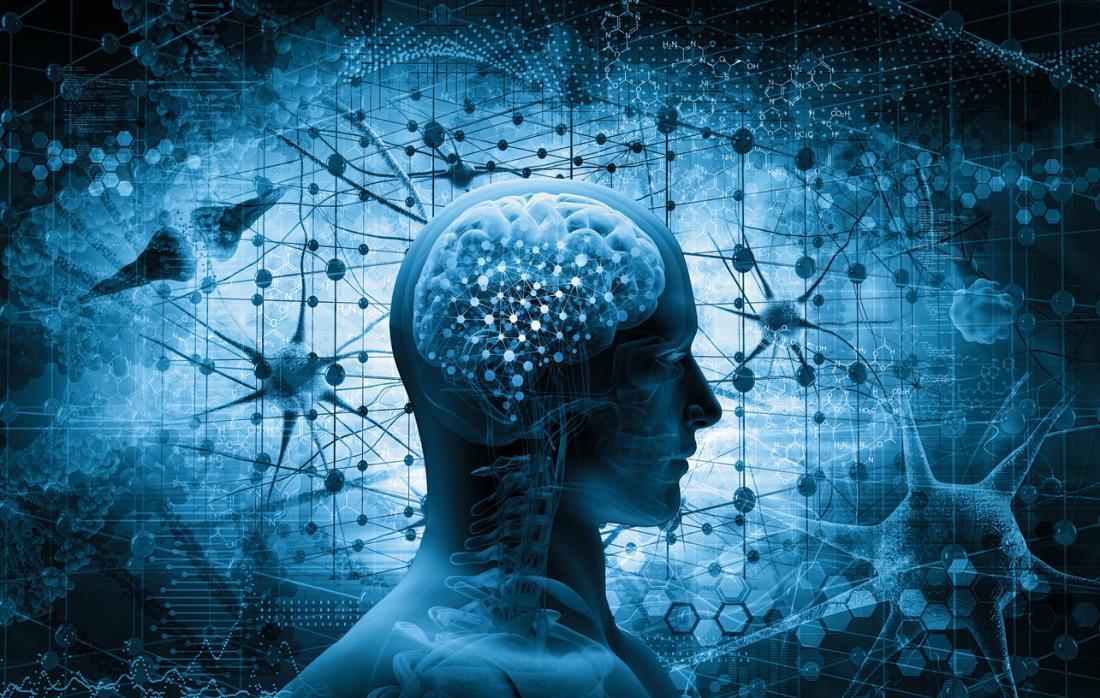 Ilustração do cérebro e conexões
