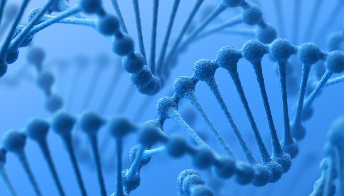 Filamento di DNA con geni.