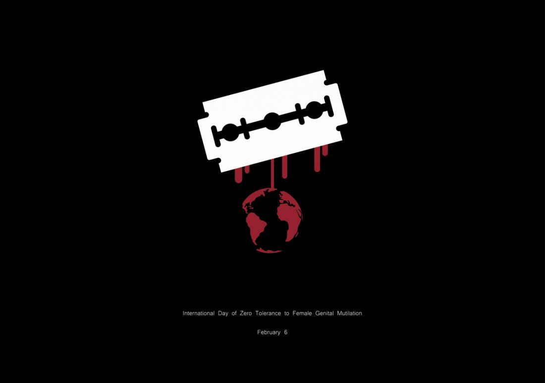 Le logo de la Journée internationale de tolérance zéro pour les mutilations génitales féminines, avec une lame de globe et de rasoir.
