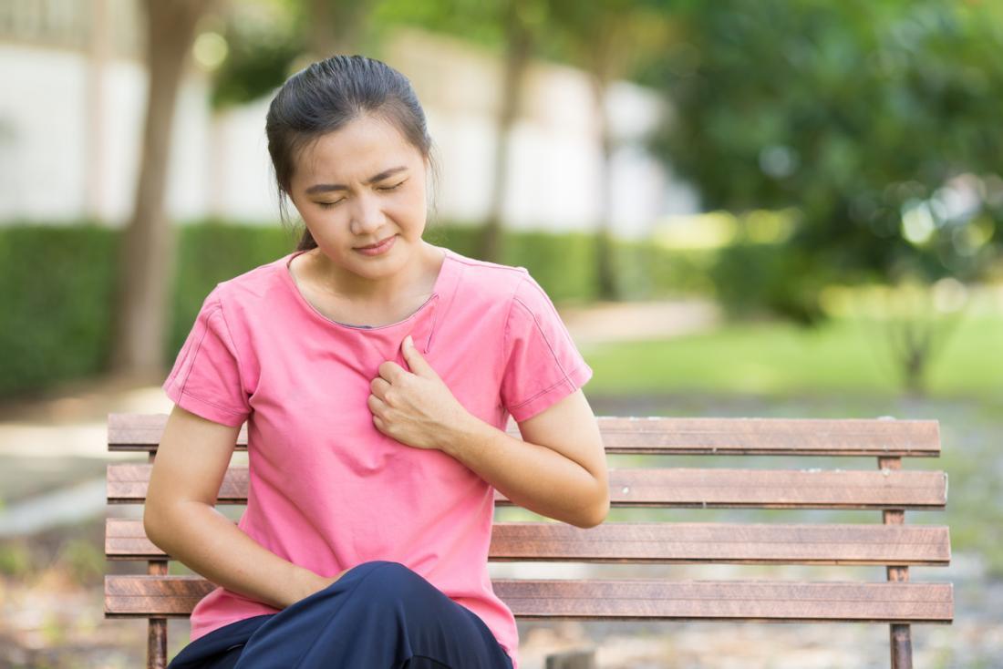 女性は公園のベンチに座って、呼吸障害や胸痛を経験する。
