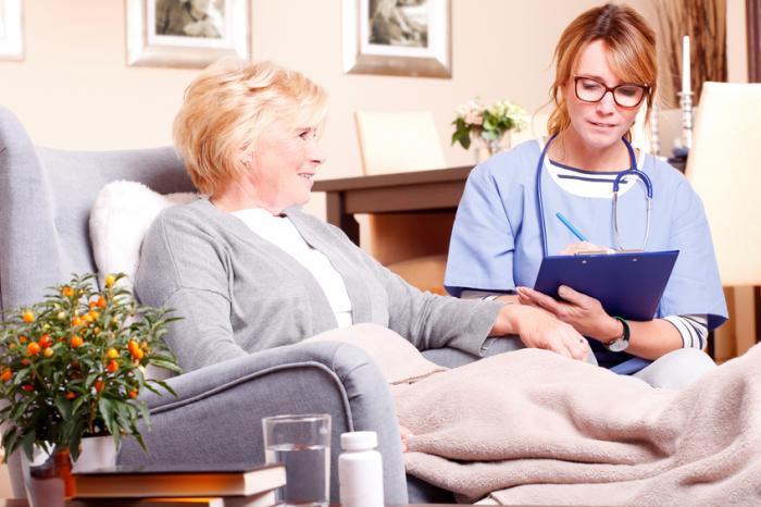 高齢の女性は、看護師の介護施設に座っています。