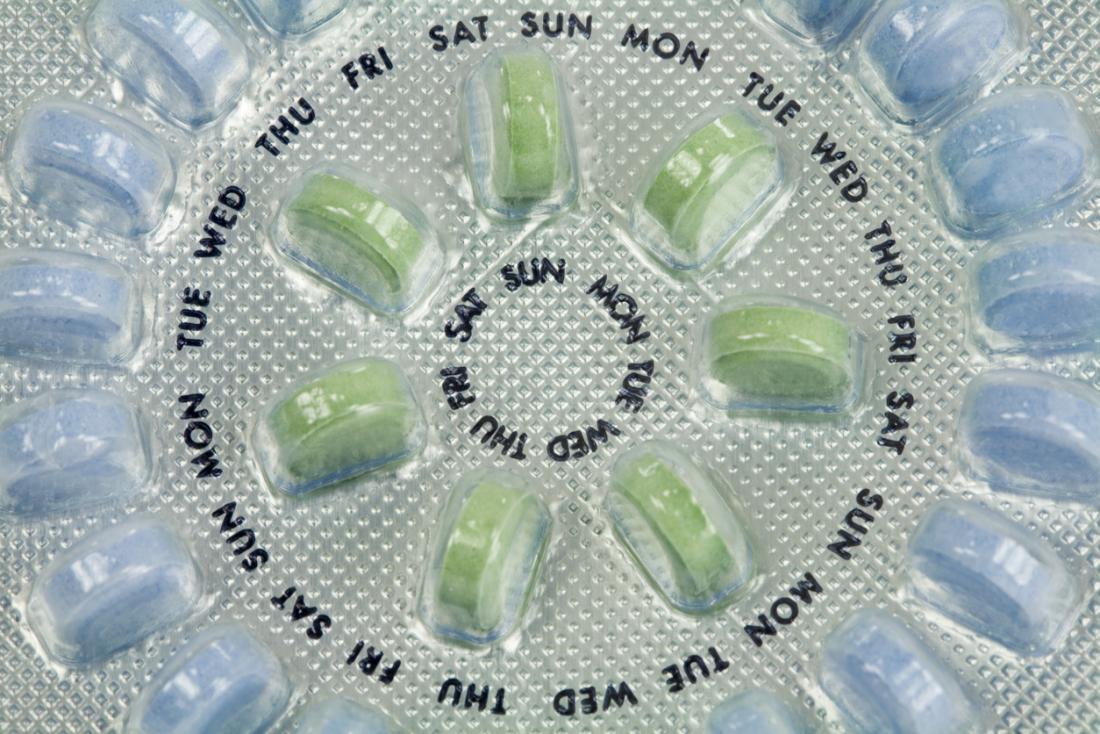 Pilules de contrôle des naissances monophasiques en paquet rond.