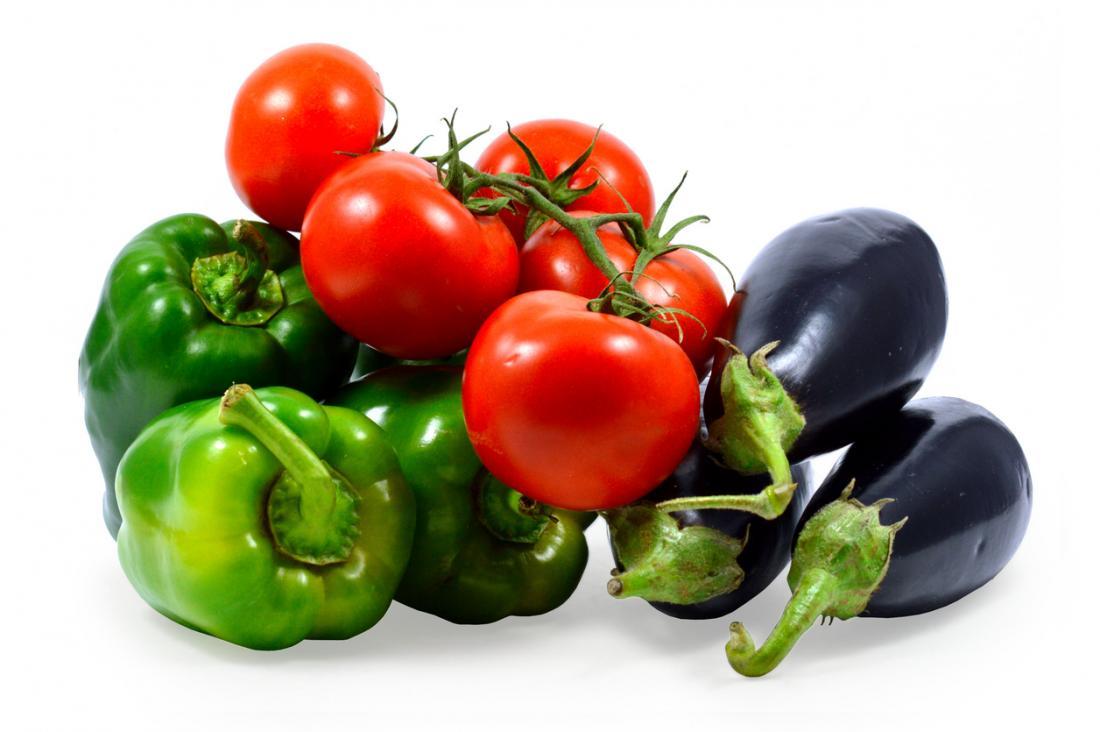 Paprika, Tomaten und Auberginen