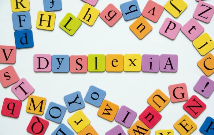 Legasthenie buchstabiert in Briefen.
