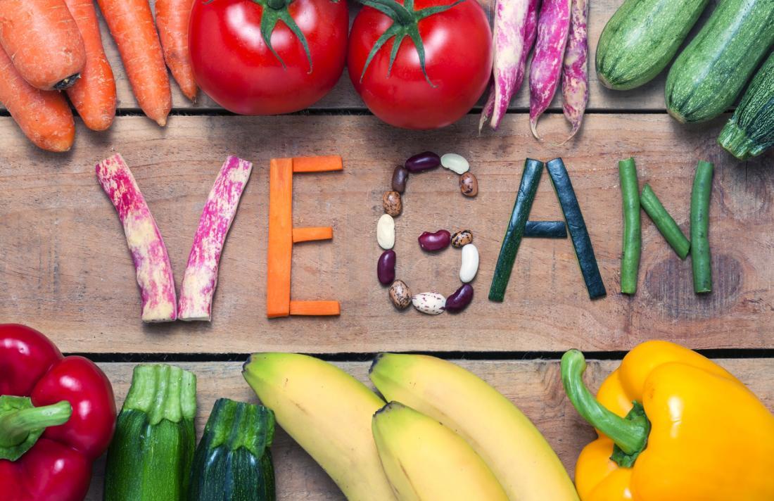 A palavra vegano feita a partir de vegetais