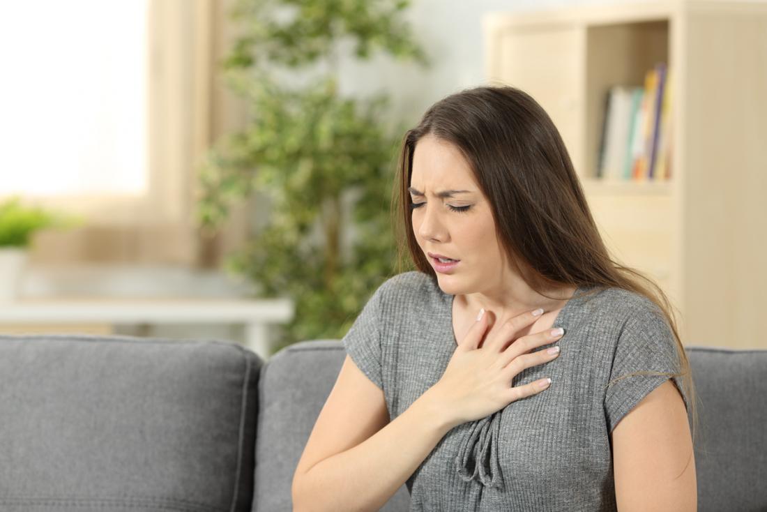 Lady kämpft mit Atem