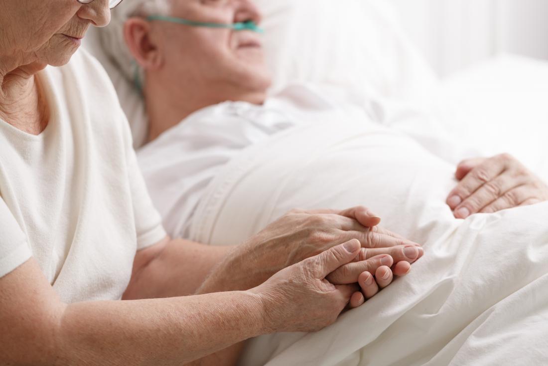 Donna che tiene la mano del partner morente nel letto dell'ospizio per dimostrare il rantolo della morte.