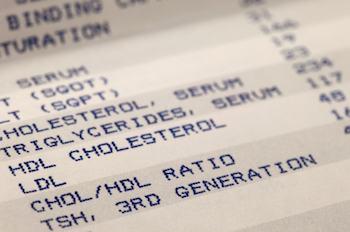 Резултат от кръвно изследване за холестерол