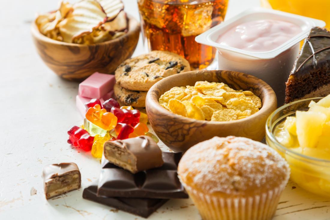 Храни с високо съдържание на захар и мазнини.