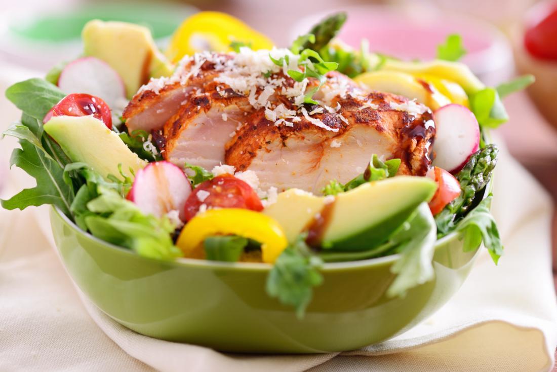 [salad gà nướng với củ cải và bơ]