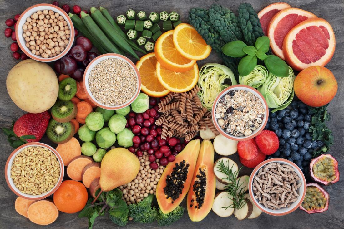 fruits légumes et grains entiers