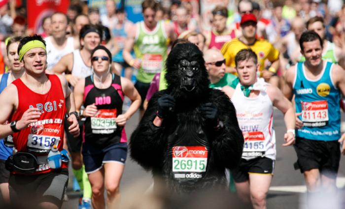 Personne dans un costume de gorille exécutant un marathon.