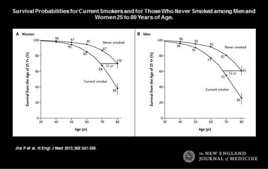 Probabilités de survie pour les fumeurs actuels et pour ceux qui n'ont jamais fumé chez les hommes et les femmes de 25 à 80 ans.