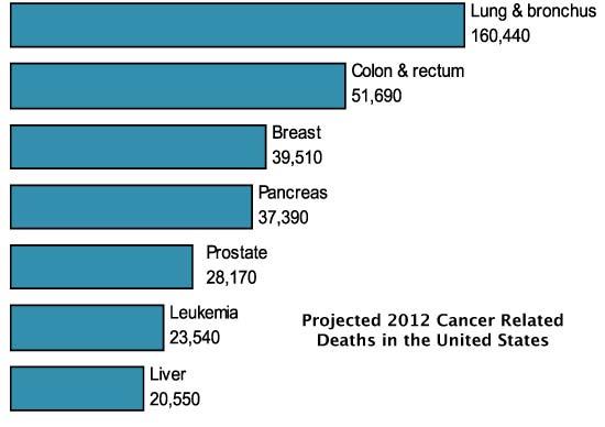 Diagramme - Projections de décès liés au cancer en 2012 aux États-Unis