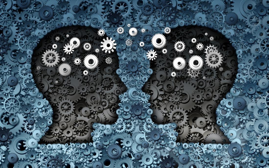 dois cérebros com engrenagens