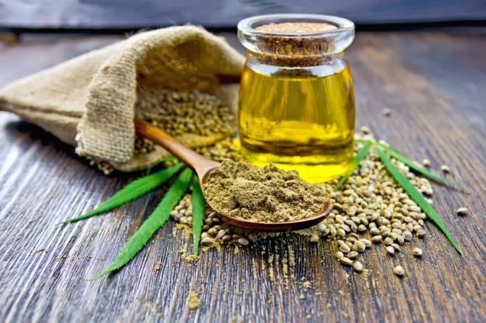 麻の葉、粉、種子、および油。