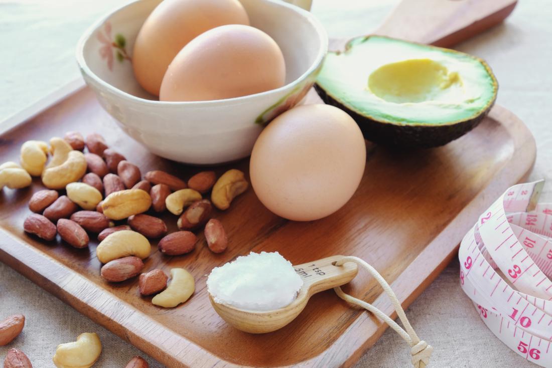 アボカド、卵、ナッツ、ココナッツバターを含む、ケトン生成食で食べられる脂肪の様々な食物源。