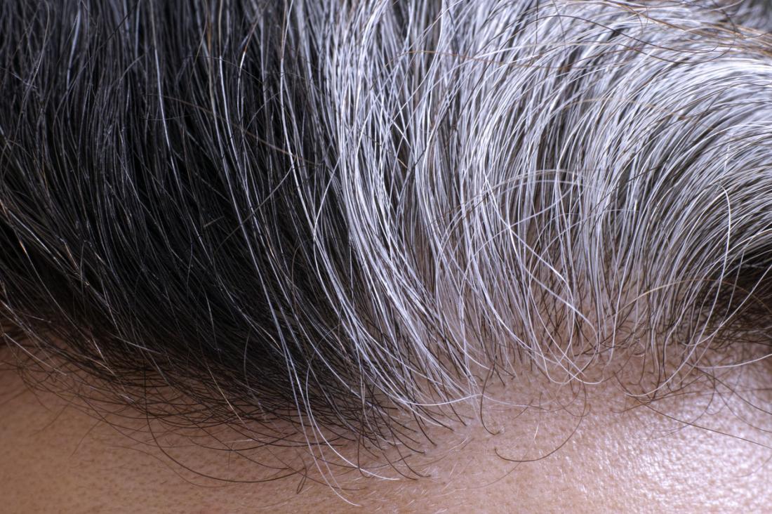 灰色の髪の毛