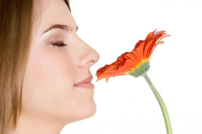 femme qui sent la fleur